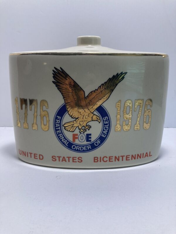"""1776-1976 FOE FRATERNAL ORDER OF EAGLES DECANTER OLD MR BOSTON WHISKEY 7"""" No Lid"""