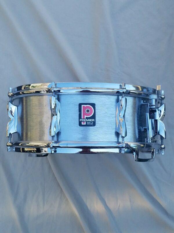 Vintage 70s Premier 5.5x14 Brushed Aluminum Snare Drum 8 Lugs Die Cast Hoops