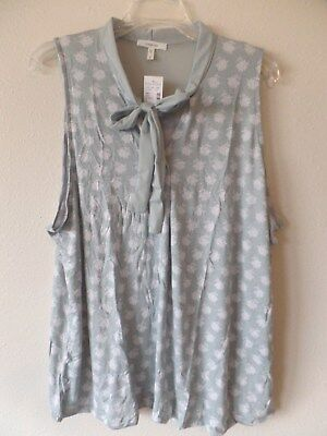 Maurices 2 Womens Plus 2 2X Rayon Spandex Sleeveless Blouse Tie Front Top New