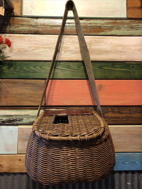 Vintage Wicker/Leather Fishing  Creel Wooden With strap.