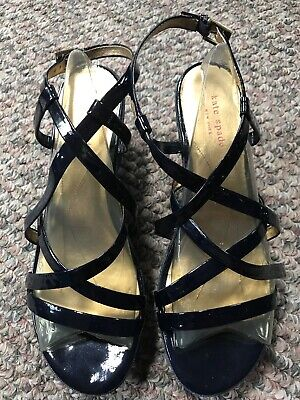 Kate Spade Navy Patent Leather W/Denim Platform Wedge Sandal Women's Size 9.5 M