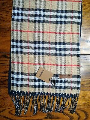 Burberry Reversible Check to Solid Scarf Lightweight Unisex Brand New