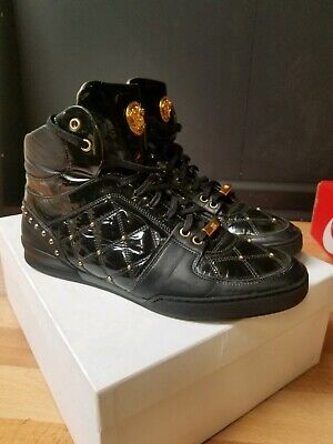 AUTH VERSACE PATENT LEATHER HI TOP GOLD MEDUSA SNEAKERS SPORT SHOE $895 SZ 42/9