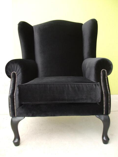 Wing Chair New Black Velvet Dining Chairs Gumtree