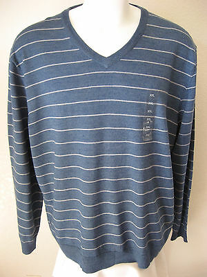 Mens Wool Sweater Xxl Club Room Light Blue Stripe Acrylic Blend V Neck Woven 70 Usd 37 99
