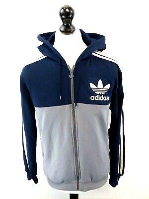 ADIDAS Mens Hoodie Jacket M Medium Blue Grey Polyester