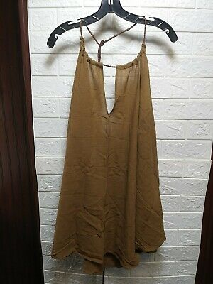 Caravana Womens Mahahual Short Cotton VNeck Dress with Leather Tie MSRP $258.00