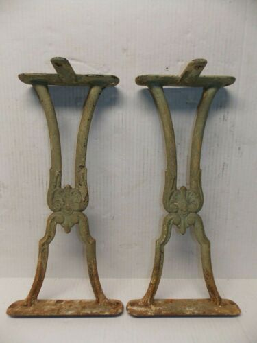 Antique Pair Green Victorian Cast Iron Metal Desk Bench Table Legs