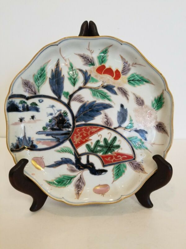 "Chinese/Japanese Scalloped Rim Bowl/Plate/Charge Imari Style Porcelain ""Antique"""