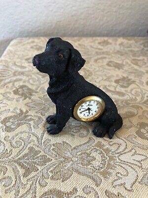 """Nikko Quartz Black Labrador Dog Desk Shelf Mantel Figurine Decor Clock 3"""" Tall"""