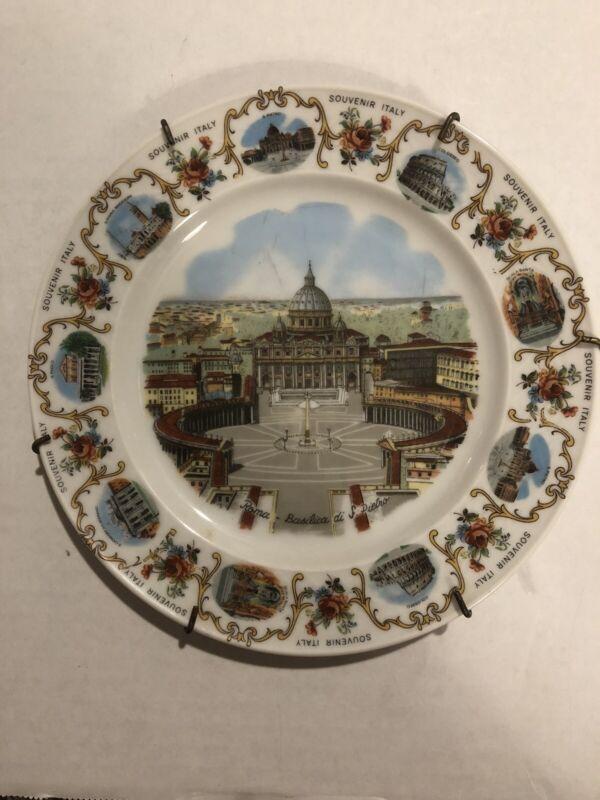 VINTAGE SOUVENIR ITALY ROMA - BASILICA DI S. PIETRO Plate