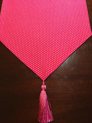 Glam Gold Dots on Hot Pink Valentine's Day Cotton Table Runner by ThemeRunners