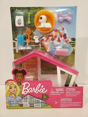 BRAND NEW Barbie Ken Puppies and Dog House Accessory Furniture Set FXG34