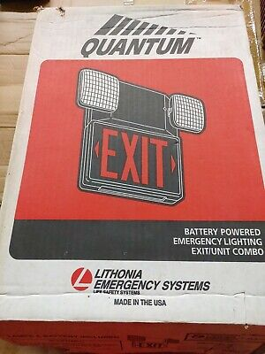 Lithonia Quantum Battery Poweredrechargeable Exit Light Combo New