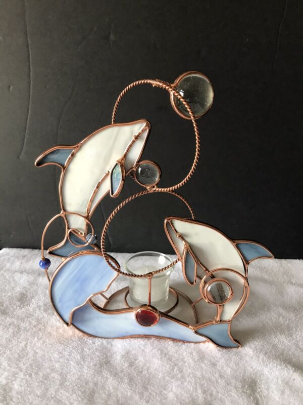 Dolphin Metal Sculpture Stained Glass Votive Candle Holder Dolphins Waves & Ball