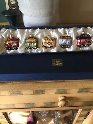 Collector's Series Handblown Glass Christmas Train Ornaments 5pc Set