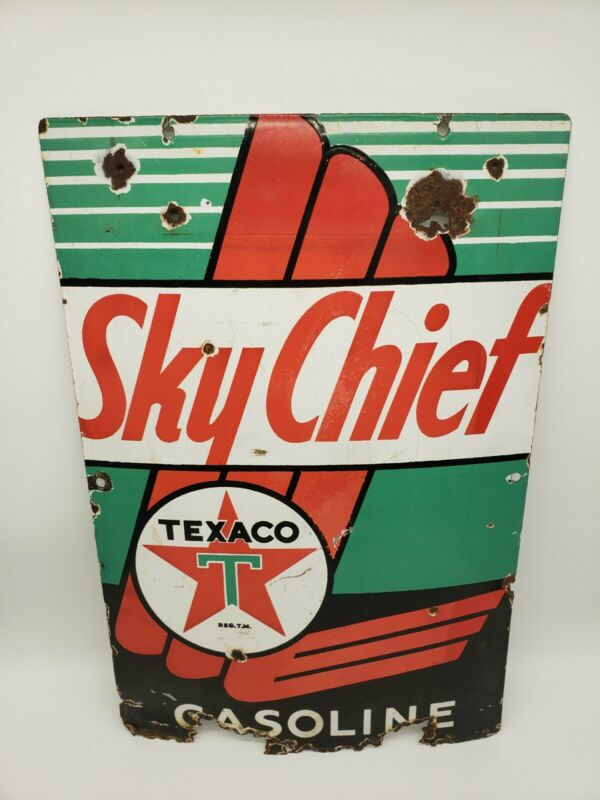 "VINTAGE TEXACO SKY CHIEF GASOLINE 18"" X12"" PORCELAIN METAL ENAMEL GAS & OIL SIGN"