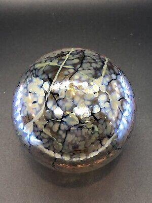 Tim Lazer Art Glass Paperweight - Gold Crackle Design - Dated -