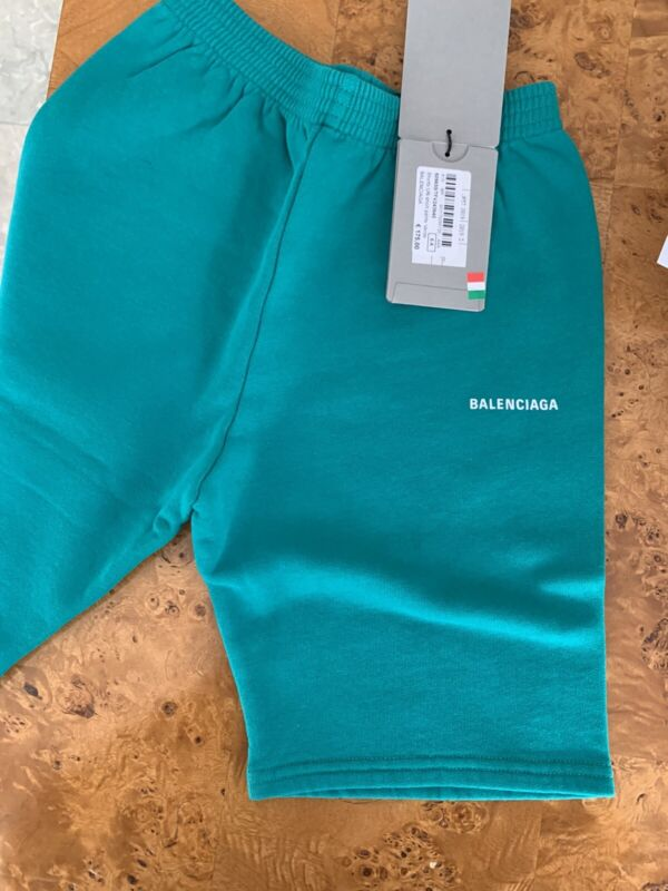 Balenciaga Paris Sweat Shorts Logo Print in Green  6 YR
