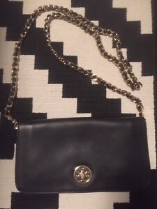 Tory Burch Gold Chain Flap Purse.