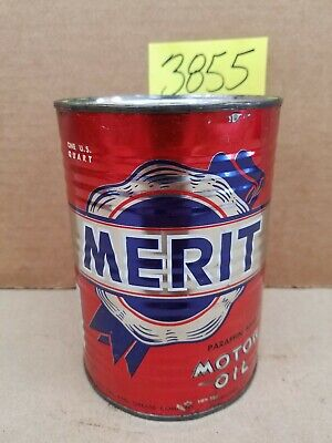 Rare Merit Unopened Full 1 Quart  Motor Oil Can Metal Vintage Cato Oil Grease Co