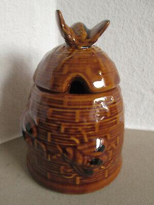 HONIGTOPF Honiggefäß Honigdose Honig Dose m. Biene Marmeladentopf Keramik braun  (Biene Honig Topf)