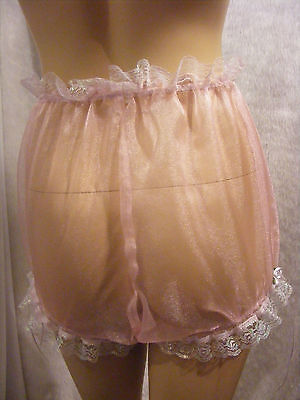 SISSY ADULT BABY PINK SHEER ORGANZA LACE DIAPER COVER PANTIES FANCYDRESS (Pink Slip Kostüm)