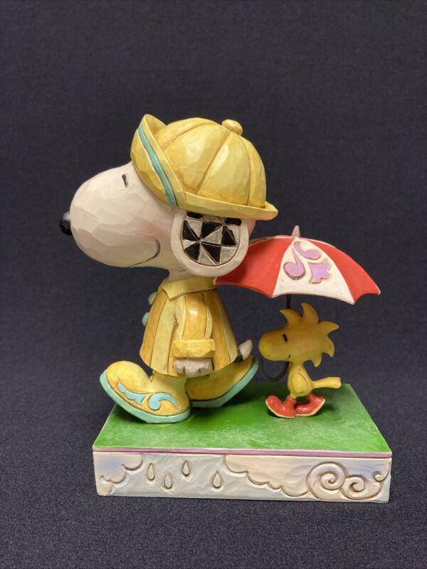 "Jim Shore Peanuts Snoopy/Woodstock ""Friends Through Rain Or Shine"" Figurine"