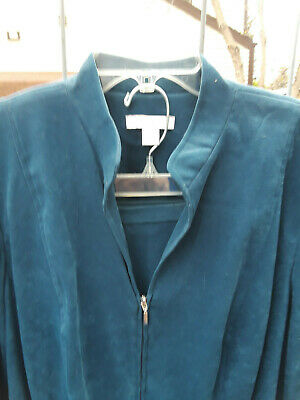 Dress Barn Womens 14W Petite Suit, 2-pc Jacket & Pants, Teal, LS Beautiful!