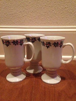 Set Of 3 Holly Collection Porcelain Formalities By Baum Brothers Christmas Mugs