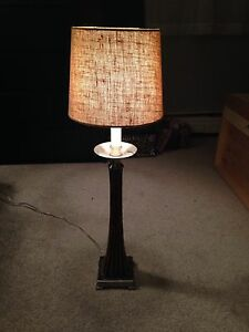 Lamp with burlap shade