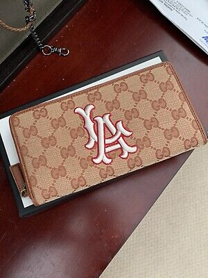 100% Authentic New GUCCI GG Canvass LA Dodgers Zip Around Long Wallet 547791