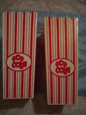 Vintage Lot 2 Retro Movie Theater Plastic Popcorn Bucket Tubs 3 Cups.7 12