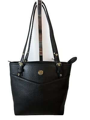 Anne Klein NWT Black V Pocket Pebbled Faux Leather Adj Double Strap Tote Purse