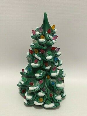 "Vintage Ceramic Light Up Frosted Snow Christmas Tree 6"" Small Size Mold Lights"
