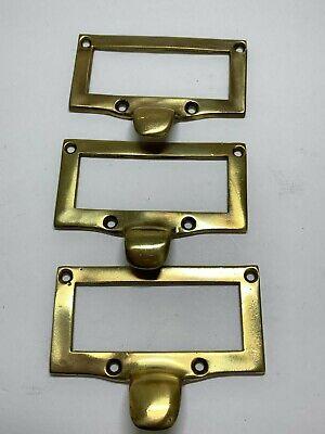Lot 3 Large Vintage Solid Brass File Drawer Label Holder Frame Pulls