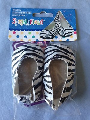 """Springfield Doll Clothes -Zebra Slip On Shoes fits American Girl Or 18"""" Doll"""