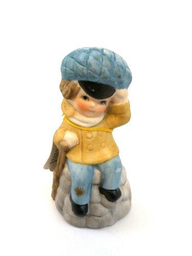 Vintage Jasco 1978 Merri Bells Boy Sitting on Wall w Blue Hat Porcelain Bell