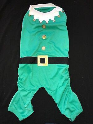 male CHRISTMAS ELF COSTUME PET CANINE size medium BLACK BELT GOLD BUCKLE DOG @@