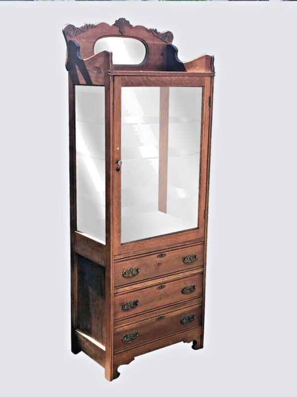 ANTIQUE 19TH C VICTORIAN TIGER OAK MEDICAL / PHYSICIANS CABINET ~~ CHINA CABINET