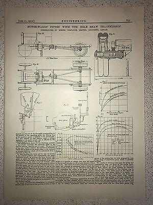 Motor Wagon With Hele Shaw Transmission, London: 1912 Engineering Magazine Print