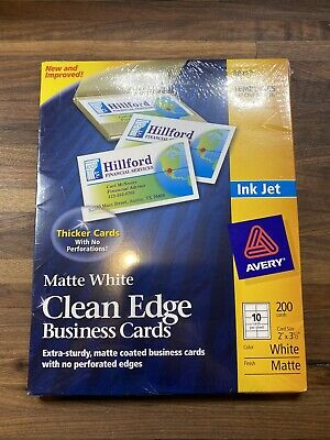 Avery Clean Edge Matte White Business Cards Inkjet 2x 3-12 Pack 200 Cards 8871