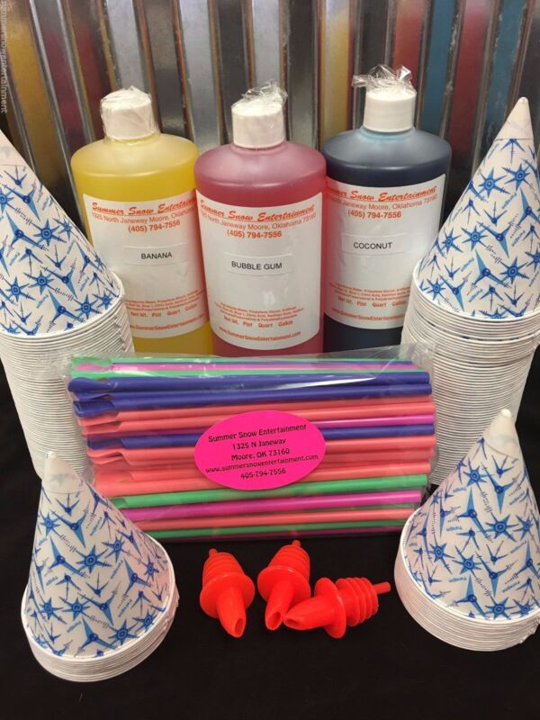 Snow Cone Syrup Kit (100) 3 Flavors, Cups, Straws, Pours- THE BEST IN THE WORLD!
