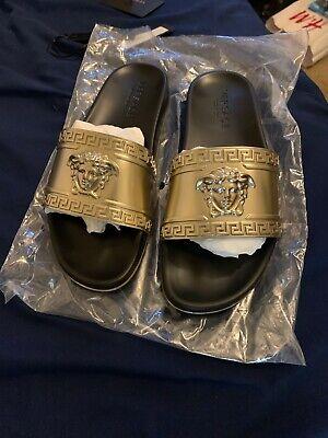 Versace Slides Gold And Black Medusa Slides Size 9.5