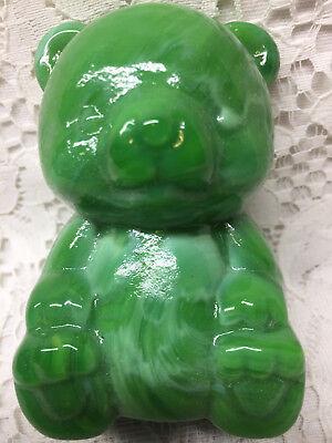Green Milk glass Teddy Bear figurine paperweight slag swirl opaque marble childs