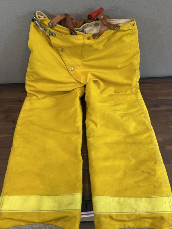 34x28 Globe Brown Firefighter Bunker Turnout Pants Yellow.