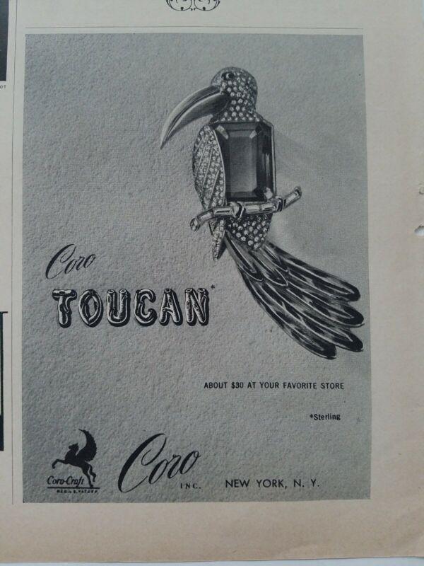 1943 Coro Toucan bird figural pin brooch vintage jewelry ad