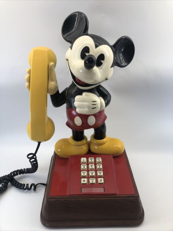 """Vintage 1976 Disney MICKEY MOUSE Touch Tone  Phone 21"""" Tall Works Great!"""