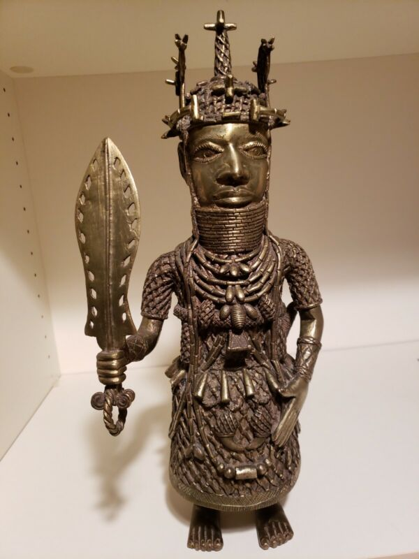 """Bronze Brass antique Oba Soldier Benin/ Nigeria     9.8lb  15.5"""""""