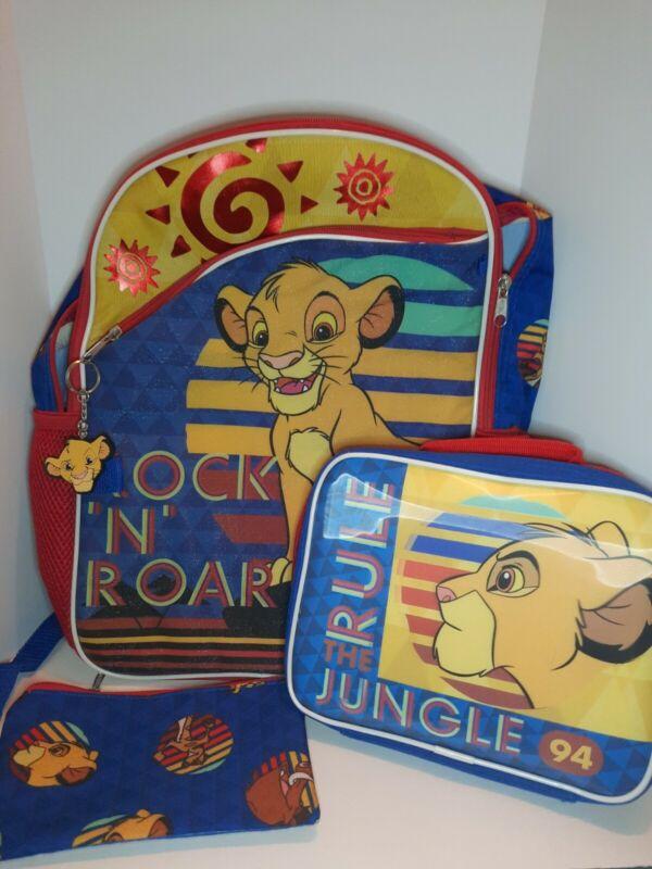 Vintage Disney Lion King Backpack Simba Rock N Roar, Lunchbox, Case, Keychain